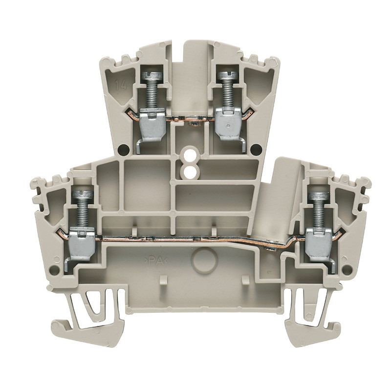 Weidmuller, 1021500000, WDK2.5, WDK Feed-through Double Deck Screw Clamp Terminal, Dark Beige, 2.5mm