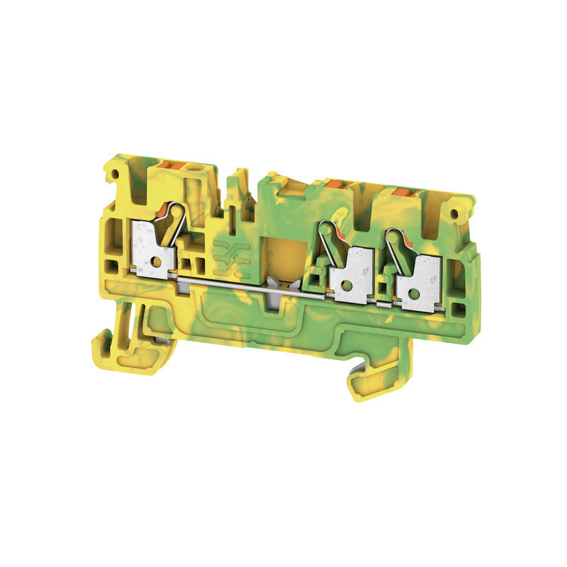 Weidmuller, Feed-through terminal block, Push In, 2.5mm, 3 Conductor, Green/Yellow