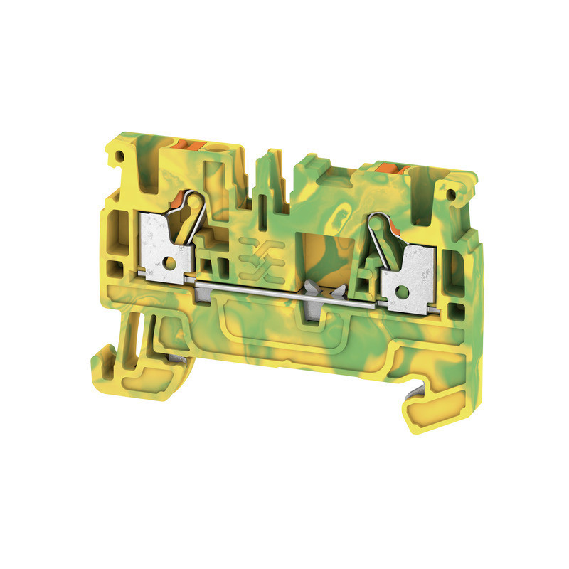 Weidmuller, Feed-through terminal block, Push In, 2.5mm, 2 Conductor, Green/Yellow