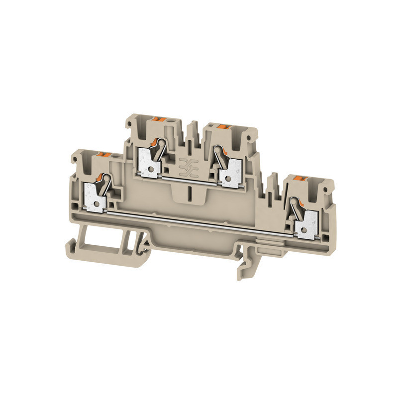 Weidmuller, Double Deck Feed-through terminal block, Push In, 2.5mm, 4 Conductor, Dark Beige
