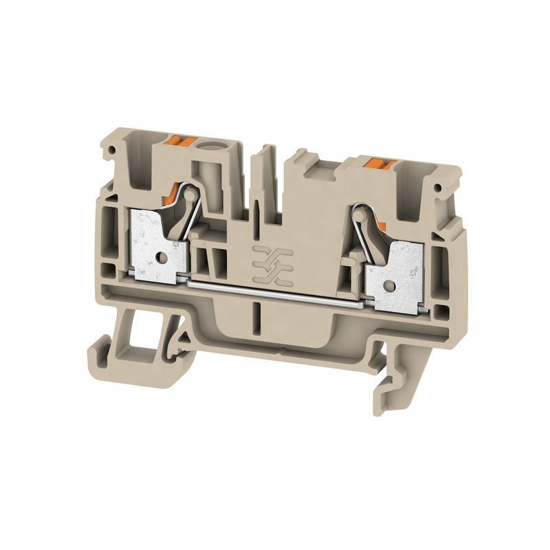 Weidmuller, Feed-through terminal block, Push In, 4.0mm, 2 Conductor, Dark Beige