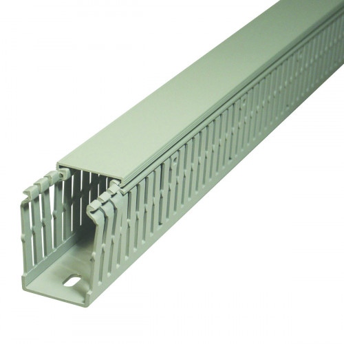Open Slotted Grey RAL7030 Rigid PVC 9051 Low Fume 37.5H x 25W,  Pack Qty = 48m