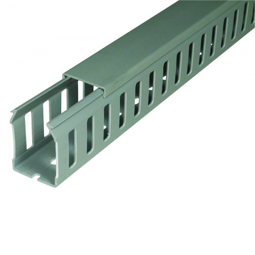 Closed Slotted, Grey RAL7030, Rigid PVC 9051 Low Fume 37.5H x 25W,  Pack Qty = 48m