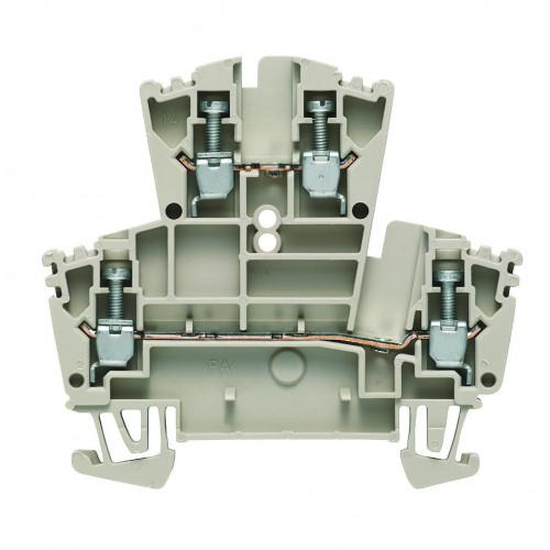 Weidmuller, WDK Feed-through Double Deck Screw Clamp Terminal, Dark Beige, 2.5mm