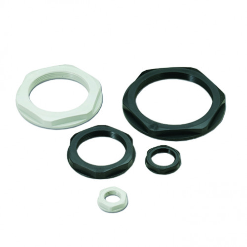 Cembre, 1142021, PG21, Threaded Locknut With Collar, Light Grey, RAL7035, Polyamide PA6.6,