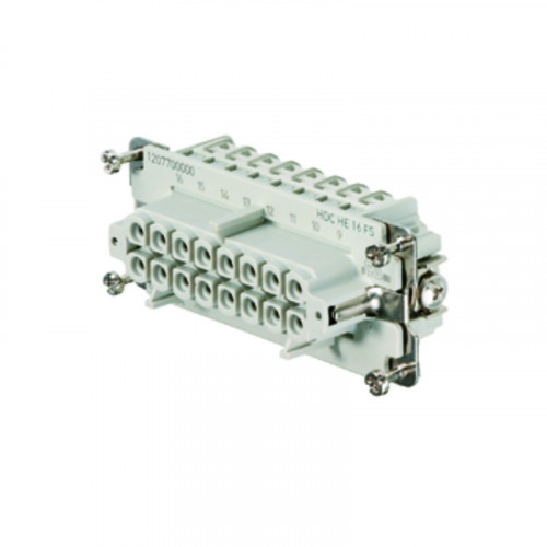 Weidmuller, 1207700000, HDCHE16FS, Rockstar HE Insert, Female, 16 Way + Earth, Size 6 Or 10, 16 Amps, Numbered 1-16,