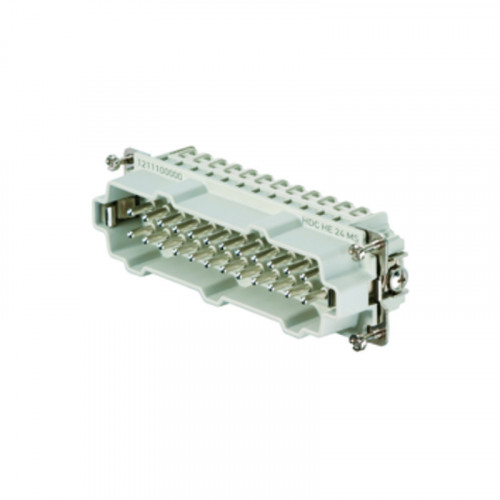 Weidmuller, 1211100000, HDCHE24MS, Rockstar HE Insert, Male, 24 Way + Earth, Size 8 Or 12, 16 Amps, Numbered 1-24,