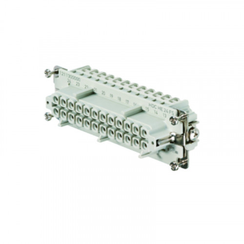 Weidmuller, 1211300000, HDCHE24FS, Rockstar HE Insert, Female, 24 Way + Earth, Size 8 Or 12, 16 Amps, Numbered 1-24,