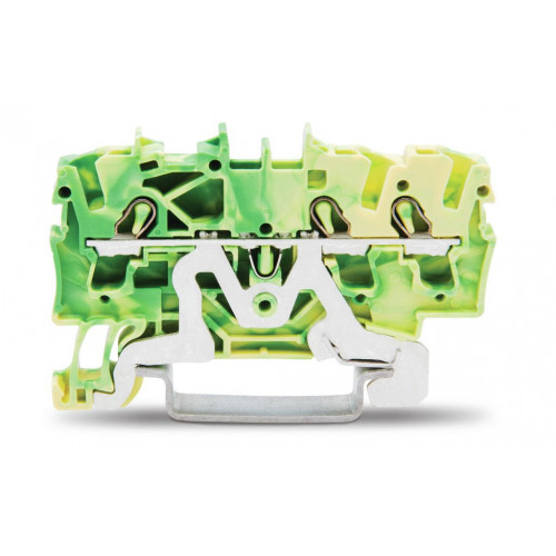 Wago, TOPJOB S, Spring Clamp Earth Terminal, Green/Yellow, 2.5mm, 3 Conductor