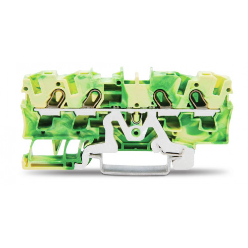 Wago, TOPJOB S, Spring Clamp Earth Terminal, Green/Yellow, 4.0mm, 4 Conductor