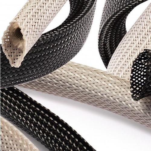 Braided Sleeving, Black, Minimum Ø 5mm, Maximum Ø 10mm, 100m Reel