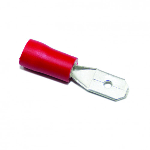 TLA, PVC Insulated Crimp, Red Male Tab, Cable Entry 0.25 - 1.5mm², Tab Size 6.3 x 0.8mm, Pack Of 100
