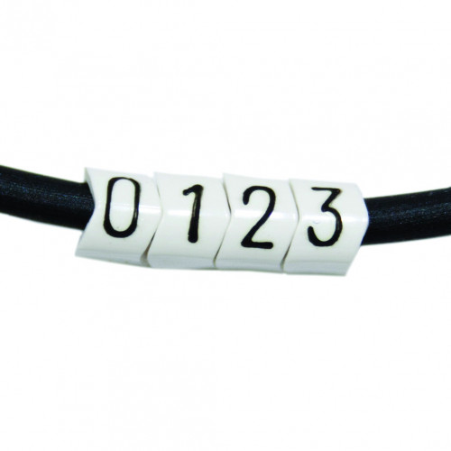 PA02/3, Black On White Marker, Numbered 0, To Suit Tri Rated 0.5-0.75mm Or Cables With 1.3-3.0mm Ø