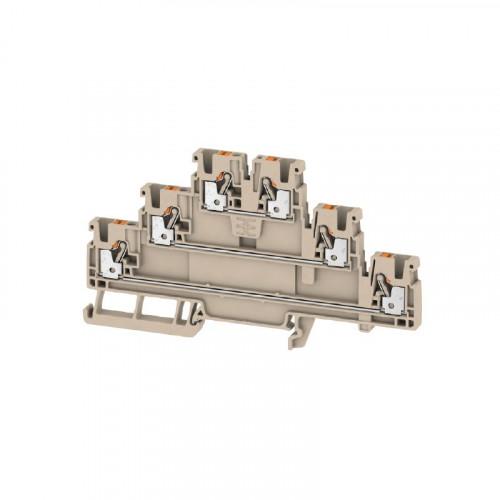 Weidmuller, 2428510000, A3T2.5, Feed-through Terminal Block, Triple Deck, PUSHIN, 2.5mm², 800V, 22 Amps, Dark Beige,