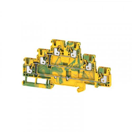 Weidmuller, 2428550000, A3T2.5PE, Feed-through Terminal Block, Tripple Deck, PUSHIN, 2.5mm², 800V, 22 Amps, Green/Yellow