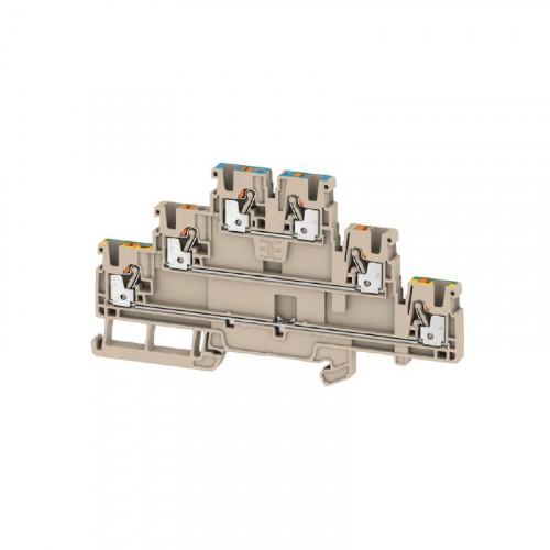 Weidmuller, 2428840000, A3T2.5N-FT-PE, Feed-through Terminal Block, Tripple Deck, L,N + Earth, PUSHIN, 2.5mm², 800V, 22 Amps, Dark Beige