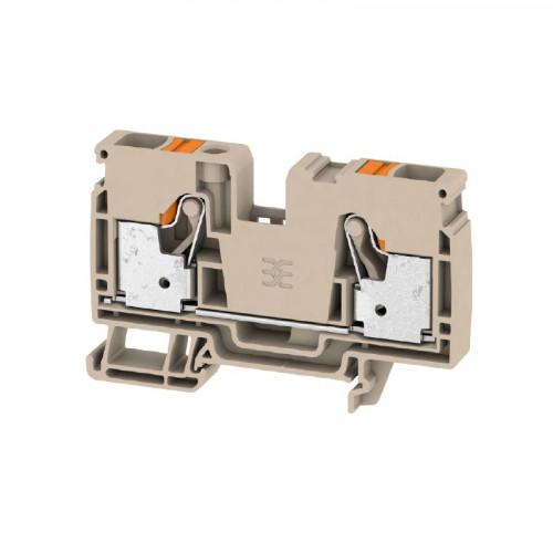 Weidmuller, 2490360000, A2C10, Feed-through Terminal Block, PUSHIN, 6.0mm, 2 Conductor, DarkBeige,