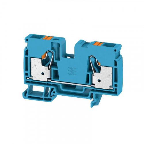 Weidmuller, 2490370000, A2C10BL, Feed-through Terminal Block, PUSHIN, 6.0mm, 2 Conductor, Blue,