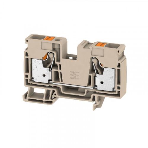 Weidmuller, 2494000000, A2C16, Feed-through Terminal Block, PUSHIN, 16mm, 2 Conductor, Dark Beige
