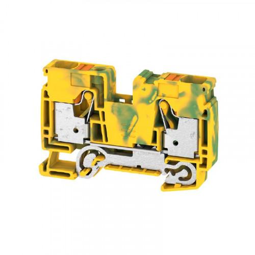 Weidmuller, 2494010000, A2C16PE, Feed-through Terminal Block, PUSHIN, 16mm, 2 Conductor, Green/Yellow
