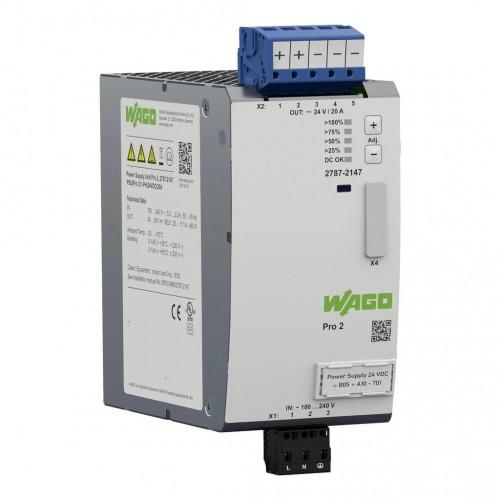 Wago, 2787-2147, Pro 2 Power Supply, Single Phase, 24V DC 20 Amp Output, TopBoost + PowerBoost, Communication Capability