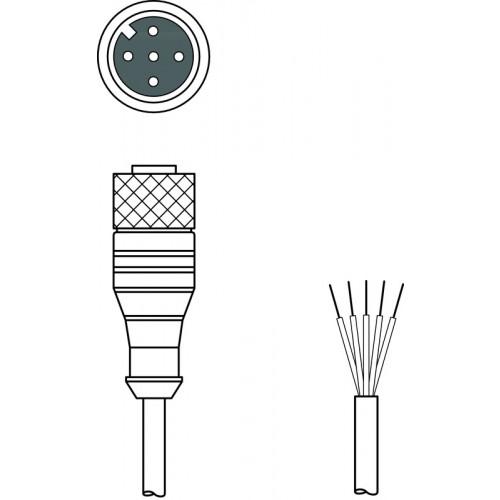 50104574, Leuze, K-DM12A-5P-2m-FAB, Connection Cable, M12, 5 Pin, PVC, 2m,