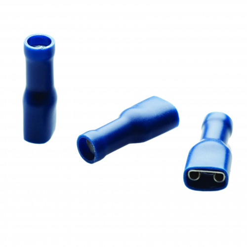 TLA, PVC Fully Insulated Crimp, Blue Female Push-on, Cable Entry 1.5 - 2.5mm², Tab Size 4.8 x 0.5mm, Pack Of 100