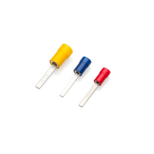 TLA, PVC Insulated Crimp, Red Bladed, Cable Entry 0.5 - 1.5mm², Blade Length 11mm, Pack Of 100