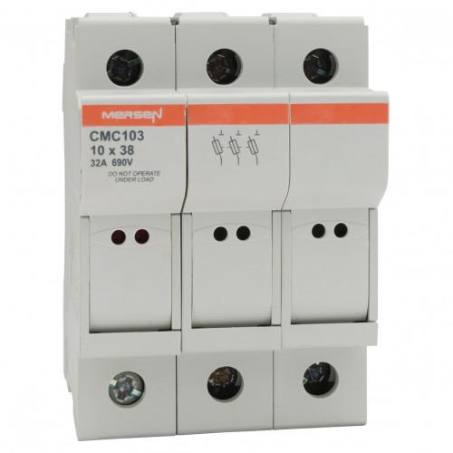 Mersen, CMC103, Modulostar Cylindrical Fuse Holder, 10 x 38, 3P, 690V AC, 200kA, IP20