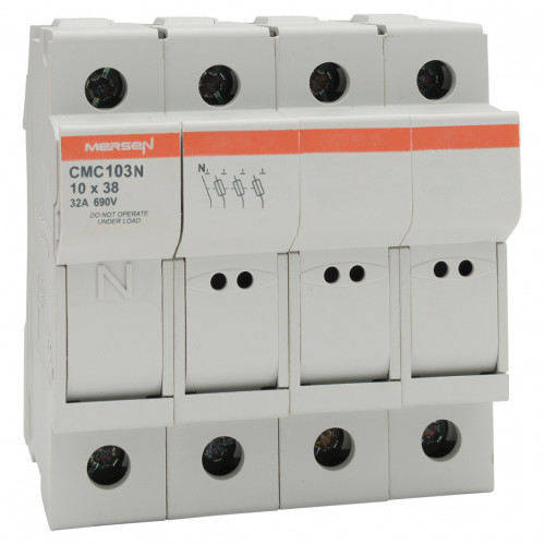 Mersen, Modulostar Cylindrical Fuse Holder, 10 x 38, 3P+N, C/W Neutral Link, 690V AC, 200kA, IP20