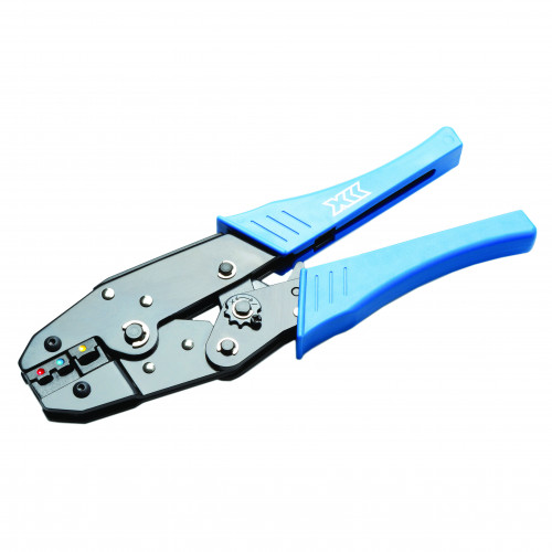 Ratchet Crimping Tool For Pre-Insulated, Blue, Red And Yellow Terminals With Standard Handle And Adjustable Tensioner