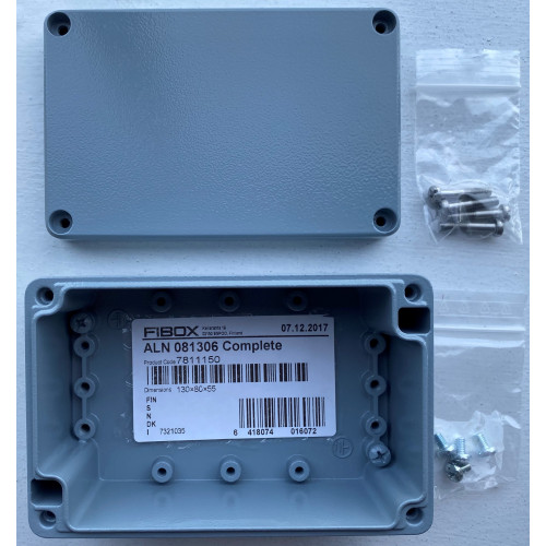 Enclosure Aluminium 127 H x 81W x 57D, 41.5Mm Base 15Mm Lid, Including: Base, Cover With Pur Gasket And Stainless Steel Cover Screws. Colour RAL 7001