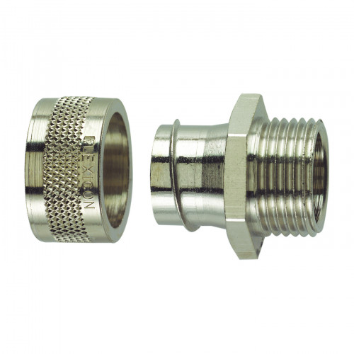 Flexicon, FSU Nickel Plated Brass, Fixed Type, External M16 Threaded Gland, To Suit FSU16 Conduits, IP54