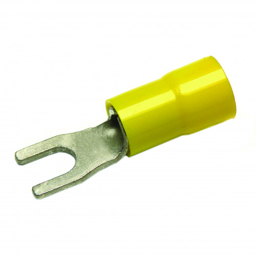 Cembre, GF-U4, PVC Insulated Crimp, Fork, Cable Entry 4.0 - 6.0mm², (YELLOW) Fork Width 7.5mm, Stud Ø 4.3mm, Pack of 100