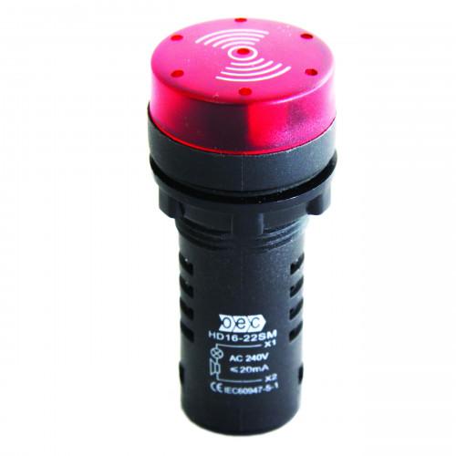 High Visability Flashing LED Indicator, C/W Sounder, 22.5mm Mounting, 110V AC, Red
