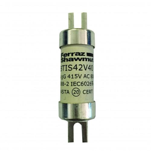 Mersen, BTIS42V160, BS88 Offset Tag Fuse, A3, 160 Amp, 415V AC / 240V DC, Fixing Centres 73mm