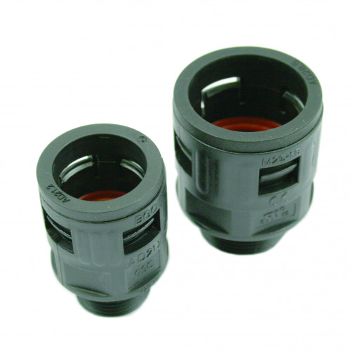 M12, Black, Quick Fit External Gland, Nylon PA66, Fixed Type, To Suit GSC10 Conduits, IP68