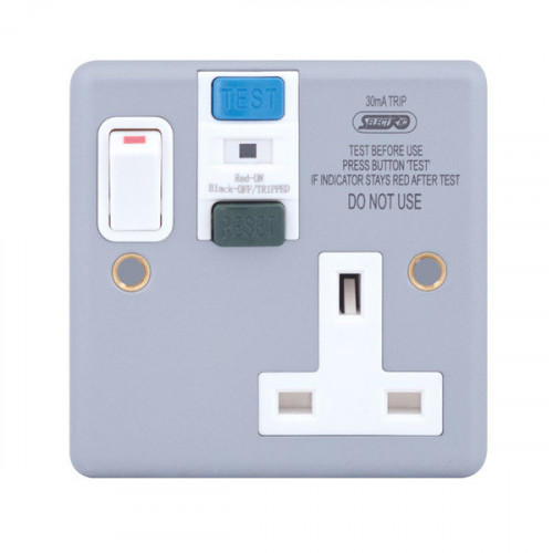 Metal Clad 1 Gang Switched Rcd Socket 30Ma Passive