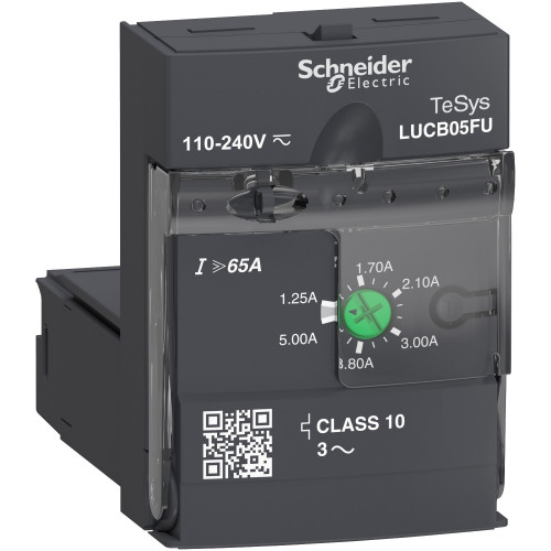 Schneider Electric, LUCB05FU, LUCB Advanced Control Unit, Class 10, 110-240V AC/DC, 1.25 - 5.0 A