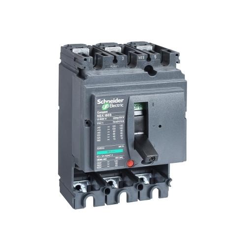 Schneider Electric, LV430406, Compact NSX160N MCCB,Fixed,Basic Frame,No Trip Or Protection,3P,160A,50kA,415V AC