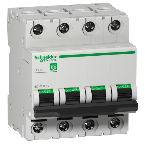 Schneider Electric, Multi 9 MCB, C60N, 4 Pole 16A, Trip Curve Type C, 10kA, Compatible With Obsolete MCB C60HC416