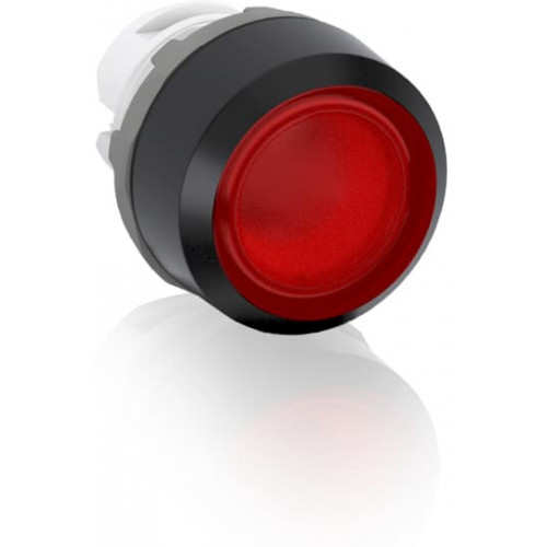 ABB, Modular, 22mm Ø Mounting, Red Illuminated Flush Pushbutton, Black Plastic Bezel, Momentary Action.