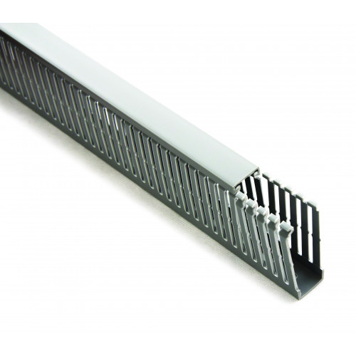 GSC, Panel Trunking, Narrow Open Slotted, Grey RAL7030, Rigid PVC, 25W x 25H, Pack Qty 60m