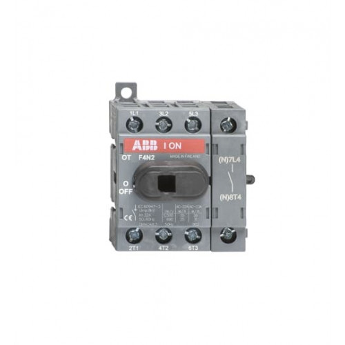 ABB, OT16F4N2, 1SCA104829R1001, OT Switch Disconnector, Front Operated, Din Rail Mounting, 4 Pole, 16 Amp, AC22