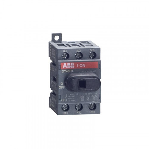 ABB, OT40F3, 1SCA104902R1001, OT Switch Disconnector, Front Operated, Din Rail Mounting, 3 Pole, 40 Amp AC22