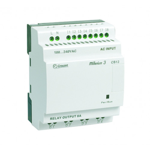 Crouzet, Millenium 3, Smart Compact Without Display, CB12R, 8 Inputs, 4 Relay Outputs, 100-240V AC