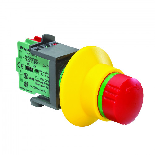 Wieland, R1.200.1122.0, SNH 1122, SNH Series, Assembled Turn To Release Emergency Stop, 2 x N/C C/W Contact Break Detection