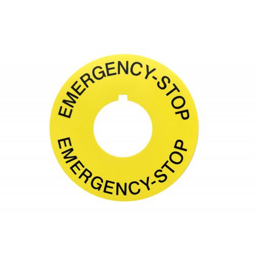 Emergency Stop legend 60mm Diameter, 22.5 Centre Hole, With Keyway, UV Resistant (0.72mm HIPS, High Impact Polystyrene) Silk Screen Print