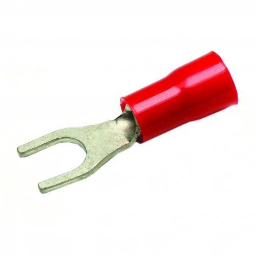 Cembre, RF-U4/2, PVC Insulated Crimp, Fork, Cable Entry 0.25 - 1.5mm², (RED) Fork Width 7.5mm, Stud Ø 4.3mm, Pack of 100