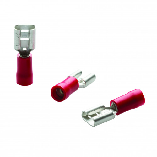 TLA, PVC Insulated Crimp, Red Female Push-on, Cable Entry 0.25 - 1.5mm², Tab Size 3.2 x 0.5mm, Pack Of 100